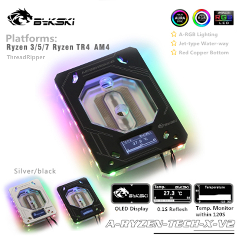 Bykski CPU Block For Ryzen 3/ 5/ 7/ ThreadRipper + OLED Temperature Digital Display RGB 12V/RBW 5V AURA SYNC A-RYZEN-TECH-X-V2 image
