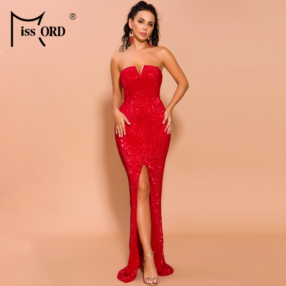 Missord 2020 Autumn And Winter Women Sexy V Neck Off Shoulder Backless Sequin Dress Female High Split Maxi Bodycon Dress FT19621