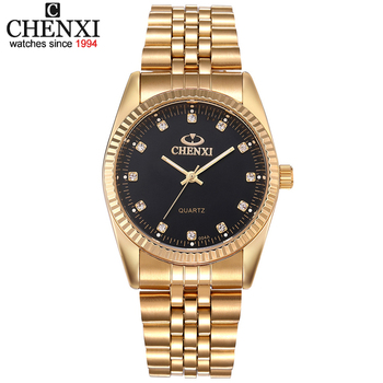 CHENXI Luxury Couple Watch Golden Fashion Stainless Steel Lovers Watch Quartz Wrist Watches For Women & Men Analog Wristwatch 1