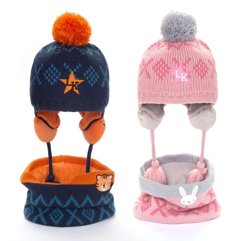 THINKTHENDO Toddler Kids Winter Knit Animal Padded Earflap Beanie Cap Collar Scarf 2Pcs Set