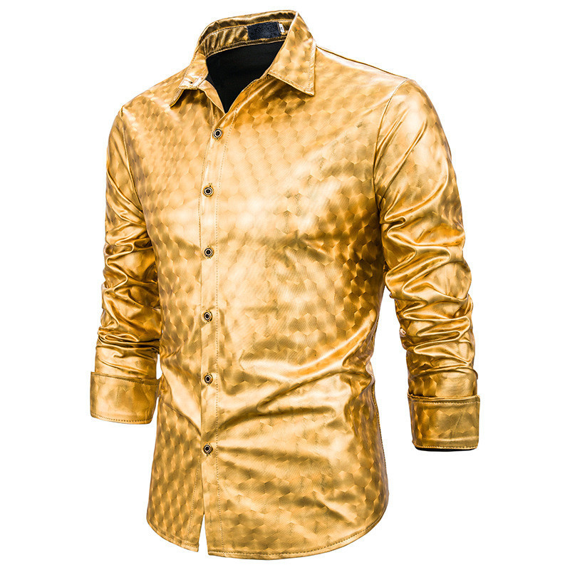 2019 New Men Gold Silver Glossy Overcoat Male Effects Colour Plaid Shirt Men Long Mouwen Single Breasted Party Nightclub Shirts