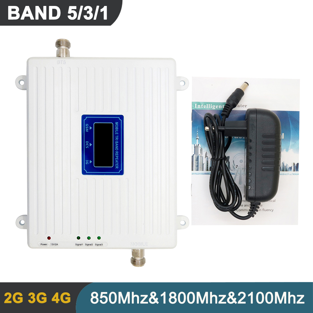 BAND 5 <font><b>3</b></font> 1 Tri Band Signal Repeater 2G 3G 4G Mobile Phone Cellular Signal Repeater LCD Display GSM WCDMA DCS Booster Amplifier image
