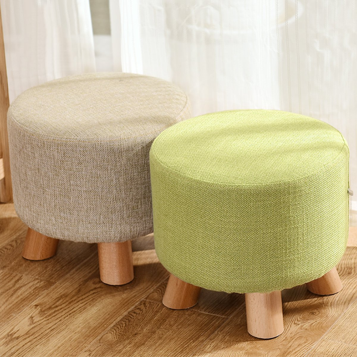 Modern Round Solid Pine Wooden Footstool Ottomans Nordic Pouffe Stool Upholstered Fabric Foot Rest Padded Seat Living Room Decor