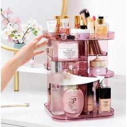 360-degree Rotating Cosmetic Storage Box Make-up Organizer Adjustable Transparent Storage Box Double-layer Lipstick Storage Rack