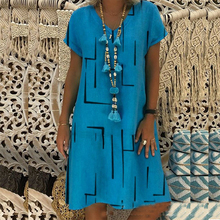 Женские платья большого размера, модное платье с v-образным вырезом и принтом, летние свободные платья с коротким рукавом