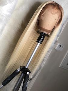 COLODO Lace-Front-Wig Blonde Human-Hair Remy-Preplucked 613 Straight with Ombre Wigs
