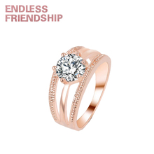 Endless Friendship Golden Fashion Diamond Woman Ring AAA Zircon For anillos mujer Wedding Party Gift Jewelry