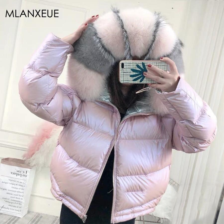Double-Sided Wear Fur Hooded Down Coats Women Solid Loose Parkas Coat Female Thicken Warm Winter Jackets Zipper Casaco Feminino