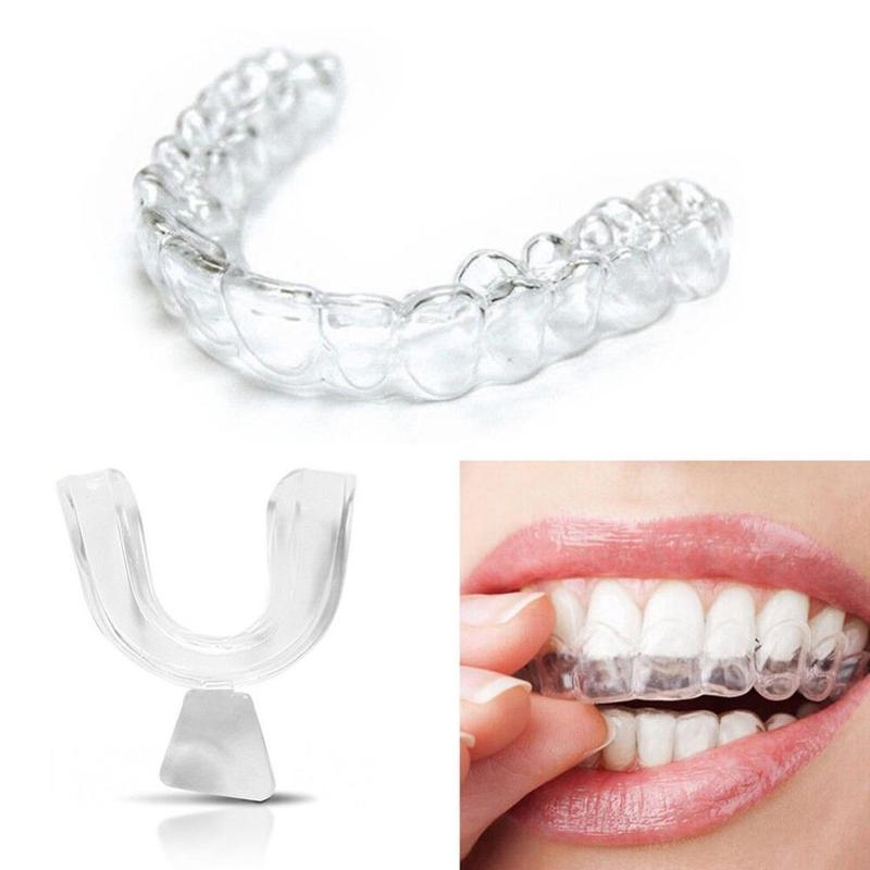 1 Pair Silicone Night Mouth Guard Teeth Corrector Clenching Grinding Dental Bite Sleep Aid Mouth Tray Tooth Retainer Straighten