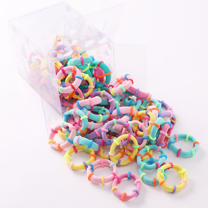 50pcs/box Girls Cute Colorful Nylon Soft Elastic Hair Bands Tie Gum Children Ponytail Holder Rubber Bands Kids Hair Accessories