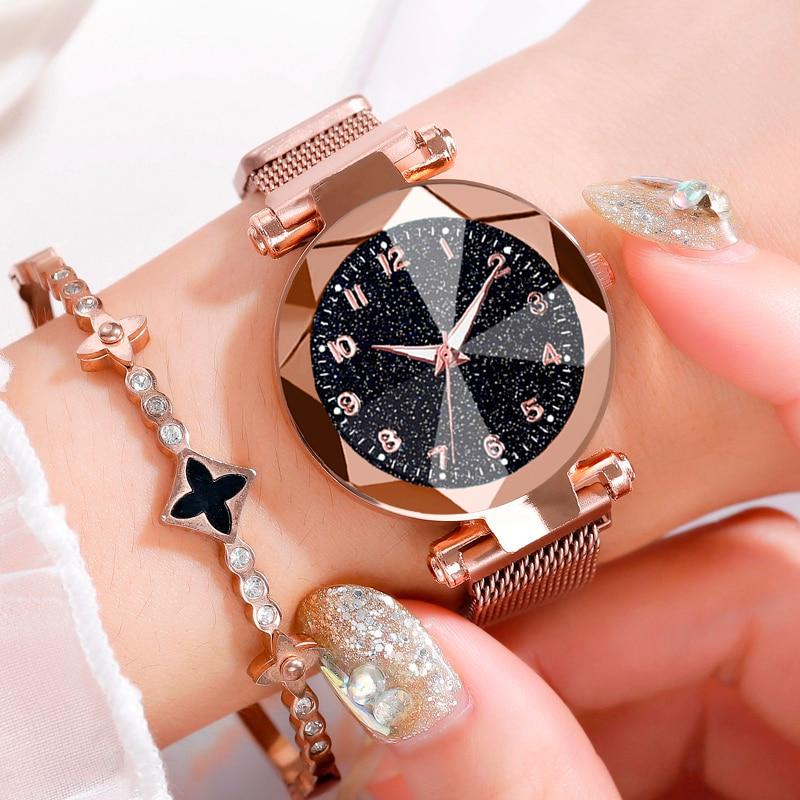 Women Watches 2019 Brand Luxury Bracelet Quartz Stainless Steel Band Magnet Buckle Starry Sky Wrist Watch Ladies Dress Clock 3