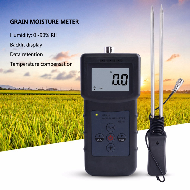 Grain Moisture Meter Tester with LCD Display for Barley Corn Hay Oats Rapeseed Rough Rice Sorghum Soybeans Wheat Flour Cocoa