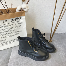 Women Boots Work Shoes Round Toe Lace-Up Women Shoes Black Female Fashion Ankle Boots Winter Short Boots Pu Leather Female Boots цена