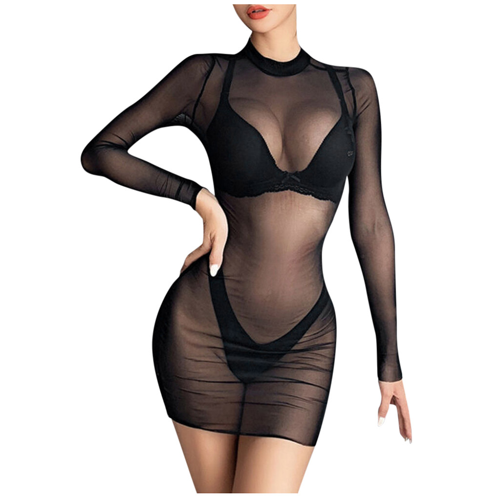 5XL Female Lace See Through <font><b>Sexy</b></font> Lingerie Pajamas Long Sleeve Porno Lenceria Nightwear <font><b>Sexy</b></font> Dress Babydoll <font><b>Hot</b></font> Erotic Costumes image