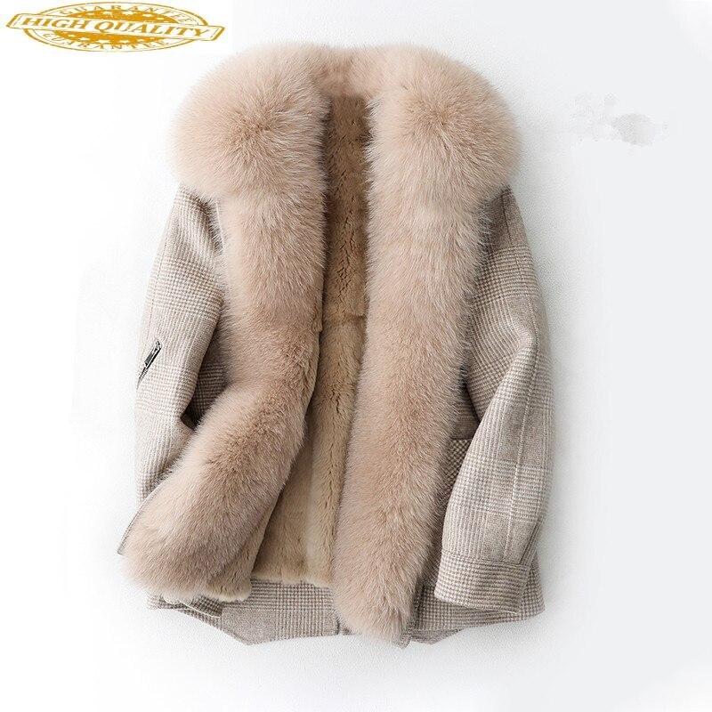 Real Fur Coat Female Natural Rabbit Fur Liner Wool Coat 2020 Autumn Winter Jacket Women Fox Fur Collar Woolen Coats MY
