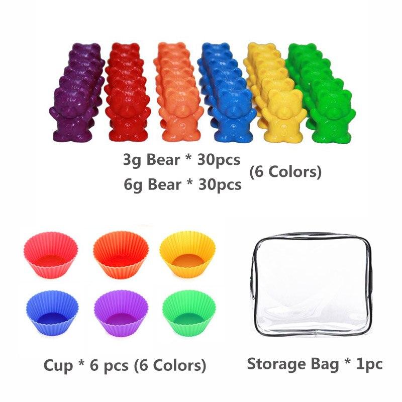1 набор, счетные медведи, штабелирование чашек-Монтессори, радужная игра, обучающая Сортировка цветов, игрушки для малышей - Цвет: Set E