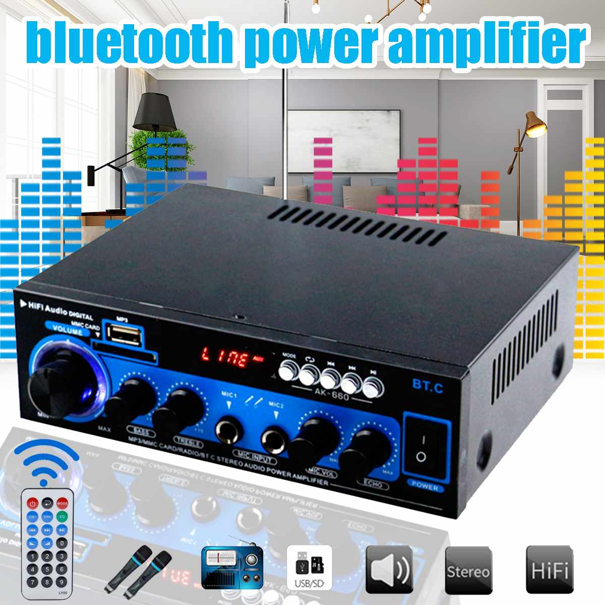 1000W Car Home Amplifiers HIFI Bass Bluetooth Audio Power Amplifier For Public Broadcasting Theater Amplifier Subwoofer Speakers