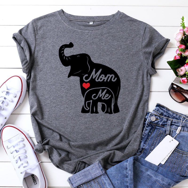 Elephant Pattern Female T Shirt O-Neck Mom Love Me Women T-shirt 100% Cotton Plus Size Short Sleeve Harajuk Summer Tops Tees