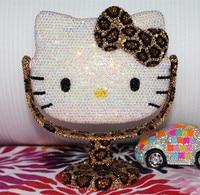 Handmade Leopard KT Dressing Mirror Rhinestone Helloo Kitty Makeup Portable Small Decorative Mirrors Table Makeup Decor Cute Cat