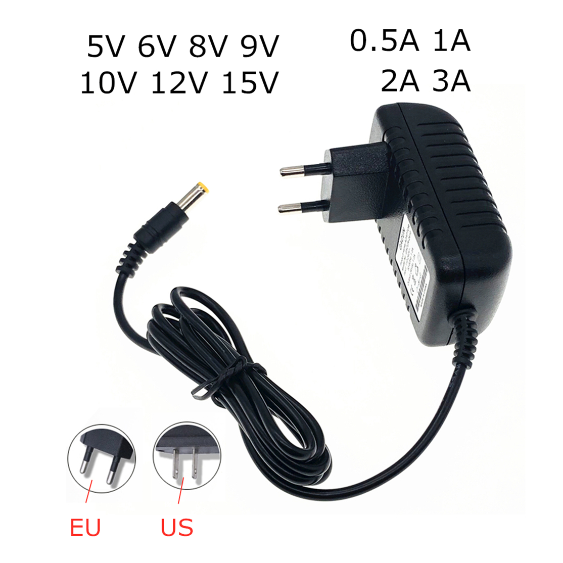 AC 110-240V <font><b>DC</b></font> 5V 6V <font><b>8V</b></font> 9V 10V <font><b>12V</b></font> 15V 0.5 1A 2A 3A Universal Power Adapter Supply Charger adapter for LED light strips Eu Us image