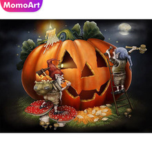 MomoArt Diamond Painting Halloween Mosaic Pumpkin Embroidery Full Square/round Cross Stitch Home Decor Gift