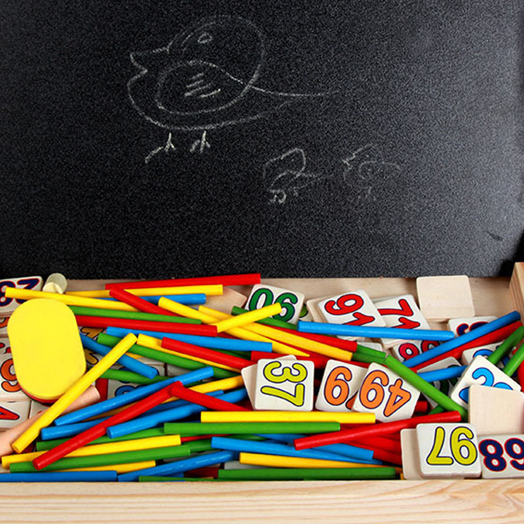 Wooden Counting Sticks Arithmetic Box Math Educational Toys Rods& Blackboard