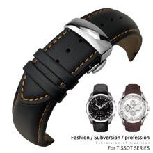 22mm 23mm 24mm curvo final pulseira de couro genuíno apto para tiisot t035617 pulseira de relógio borboleta fecho pulseiras