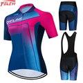 2021 Teleyi Велоспорт Джерси комплект для женщин профессиональная велосипедная одежда с коротким рукавом MTB велосипедная одежда Ropa Ciclismo командн...