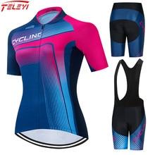 2021 Teleyi Cycling Jersey Set Women Pro Cycling Clothing Short Sleeve MTB Bike Clothing Ropa Ciclismo Team Racing Bicycle Wear
