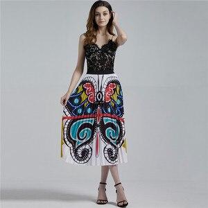 Image 4 - Artystyczny nadruk Peacock plisowana spódnica dla kobiet w stylu Vintage wysokiej talii linii elastyczne spódnice plażowe kobiety ubrania gorąca sprzedaż 2020