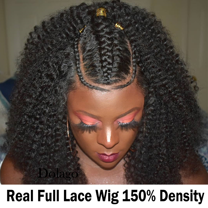 Afro Kinky Curly Full Lace Human Hair Wigs Transparent 30 Inch Wig Glueless Short Bob Fake Scalp HD Lace Wig Virgin Dolago Wigs