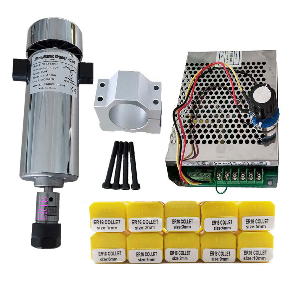 Ar de refrigeração 0.8kw dc110v 20000rpm cnc spindlemotor kit er16/mandril 800w motor do eixo + regulador de velocidade da fonte alimentação para gravura