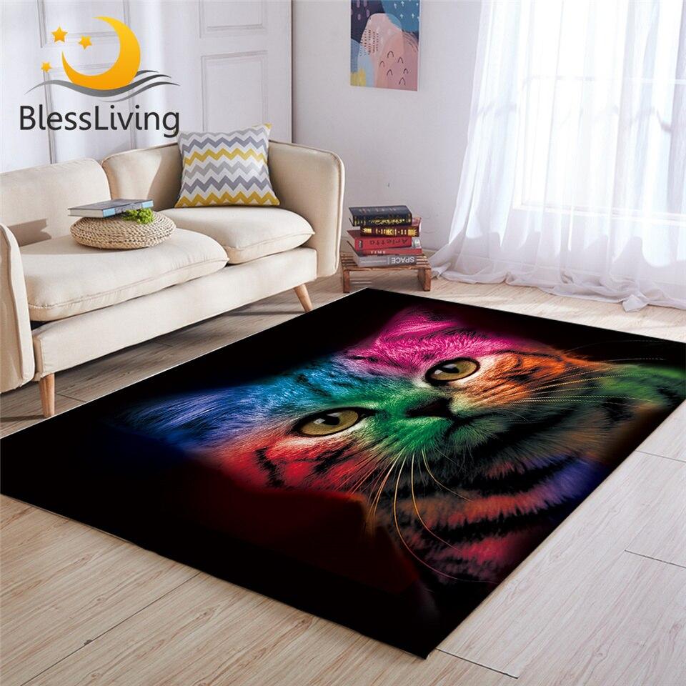 BlessLiving Chat Tapis Pour Chambre Mignon Chat Coloré 3D Tapis Couleur Noir Tapis de Sol Animal Center Tapis Tapis Salon 122x183