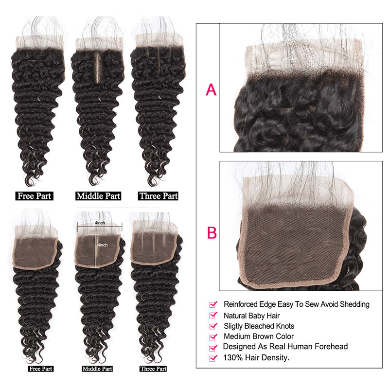 Ishow Deep Wave Bundles With Closure Human Hair Bundles With Closure Brazilian Hair Weave Bundles With Closure Non-Remy Hair