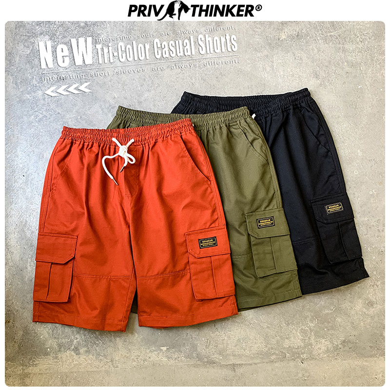 Privathinker 2020 Men Summer Solid Casual Shorts Men's Plus Size Beach Cargo Shorts 5XL Male Pockets Korean Knee Length Pants