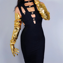 """LATEX LONG GLOVES Faux Patent Leather 35"""" 90cm XL Big Puff Sleeves Unisex Gold Women Long Leather Gloves 2020 NEW WPU209"""
