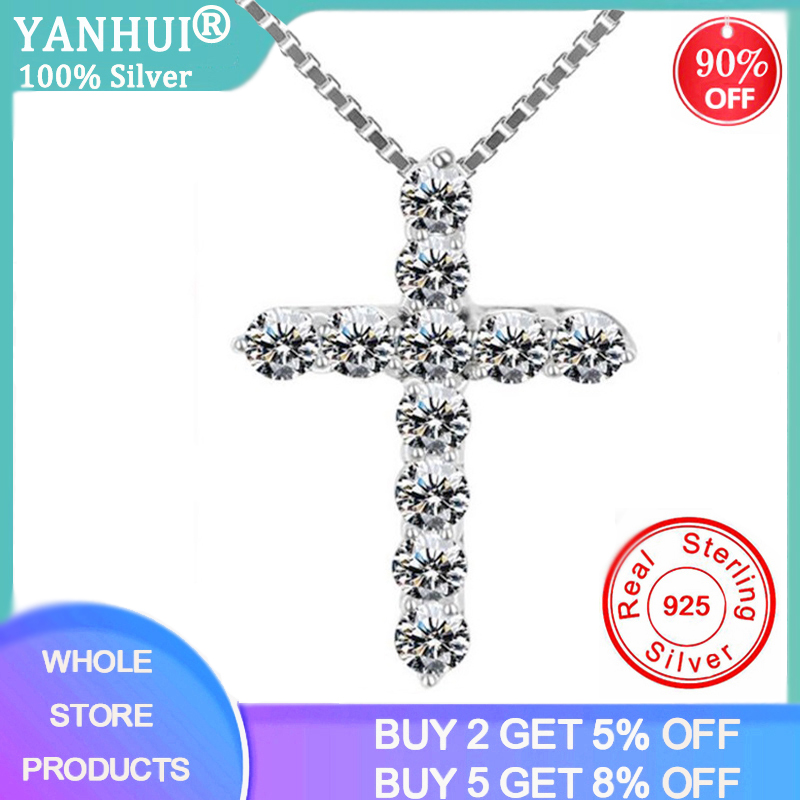 YANHUI Have Certificate 100% Original 925 Solid Silver Wedding Necklace For Women Cross Zirconia Diamond Pendant Necklace PN10