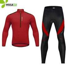 WOSAWE yüksek görünürlük erkekler bisiklet kıyafetleri jel pedi su geçirmez polar sıkı pantolon forması seti gömlek MTB bisiklet spor elbise giyim