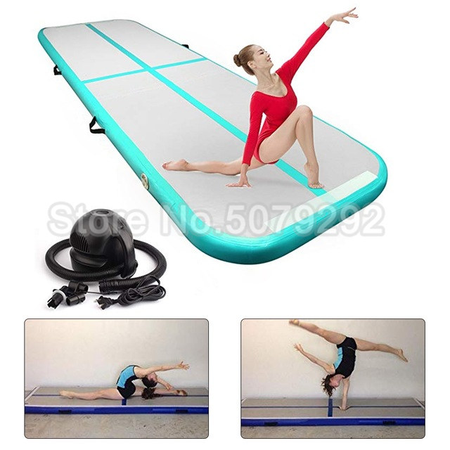 Mint Green 3M Inflatable Air Track Mats Hot Sale DWF Inflatable Airtrack For Cheerleading Gymnastics Home Use Air Track Air Pump
