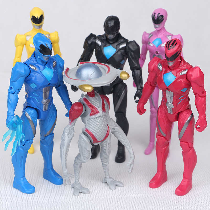 6pcs/set 13CM Power Model Rangers Dinosaur Team PVC Action Figures with Led Light Toys Children Figurine Gift Set