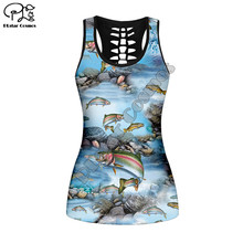 2020 New TDL-bass-fishing Cutout vest retro pattern 3D Printed womens sexy tank tps Summer Vest Tank Top Women Fashion