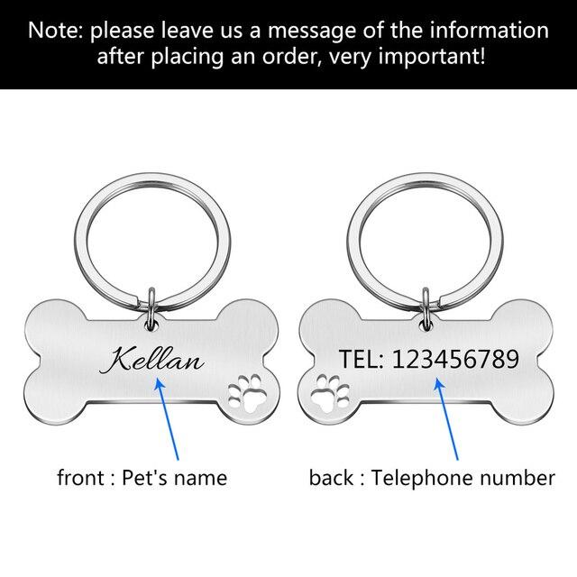 Colar personalizado pet id tag gravado animal de estimação id nome para gato filhote de cachorro cão tag pingente chaveiro osso acessórios para animais de estimação 5