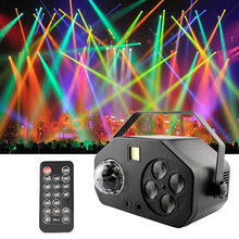 La-ser Projector RGBW Stage Light Disco Magic Ball Sounds Party Lights Music Center Strobe Lamp for Wedding Party Dance DJ(China)