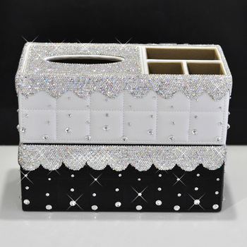 Luxury Crystal Diamond Rhinestone BEAUTY Decor Tissue Box with Storage Function Cover for Home Car Multifunction