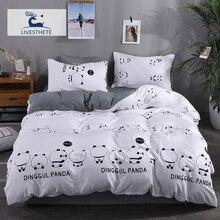 Liv-Esthete Fashion Giant Panda Bedding Set Soft Printed Duvet Cover Pillowcase Queen King Bed Linen Bedspread Flat Sheet