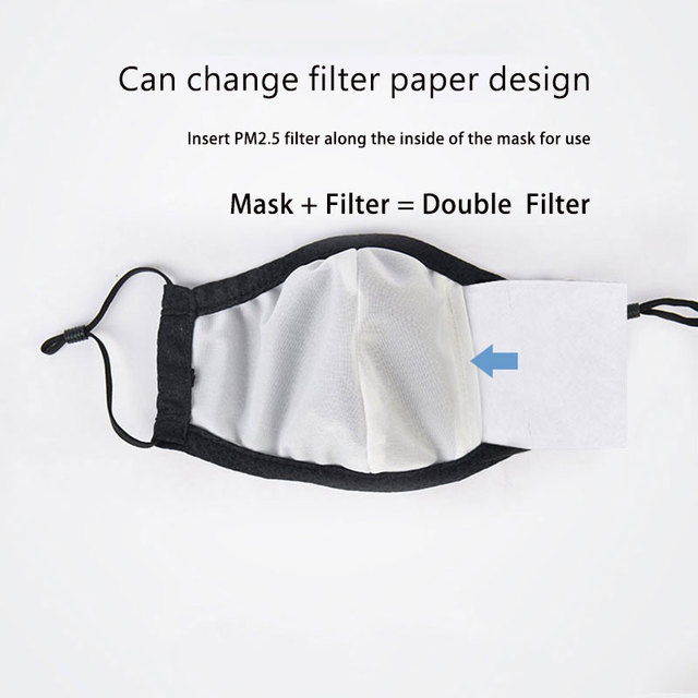 Summer Fabric Face Mask Reusable Protective Anti Dust Masks mascaras With 2pcs Filter Black mouth covers for Adult Kids Child 2
