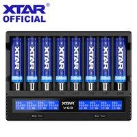 Xtar vc8 carregador de bateria 2019 mais novo display lcd xtar carregador vc8 = vc4 + vc4s qc3.0 carregamento rápido 26650 21700 20700 18650 bateria Carregadores     -