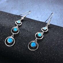 Fashion Women Earrings 2020 Retro Imitation Opal Geometric Pendant Earrings Women Jewelry Bohemian Long Dangle Earrings innopes 2019 bohemian long unique women s earrings dangle earrings jewelry earrings