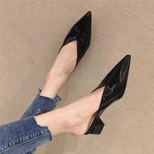 2020 New Woman Mules Shoes Summer Outside Korean Fashion 5cm Block Low High Heels Slippers Designer Women Slip On Casual Slides