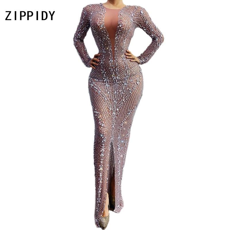 Flashing Silver Rhinestones Transparent Dress Women's Birthday Celebrate Dress Bar Latin Dancer Singer Long Dress